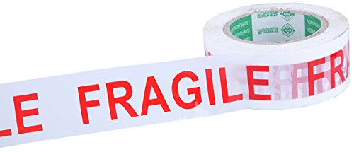 Fragile Adhesive Warning Tape - Heavy Duty White Red Handle with Care Packing Packaging Shipping and Handling Tape Rolls - 100 Meters