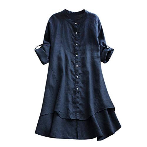 (Nadition Women O-Neck Roll-up Long Sleeve High Low Hem Linen Blouse Casual Soild Button Detail Long Shirt Blouse Tops Navy)