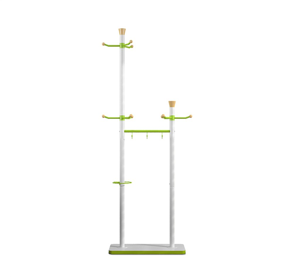 Fashion Green White Coat Rack / Floor Double Column Single Rod Metal Coat Rack / Hanging Hanger / Fashion Cloth / Thick Chassis (600 300 1770mm)