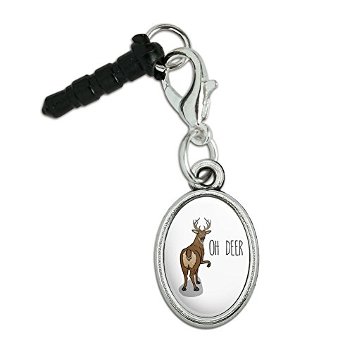 Oh Deer Butt Dear Funny Mobile Cell Phone Headphone Jack Anti-Dust Oval Charm fits iPhone iPod (Butt Dust)