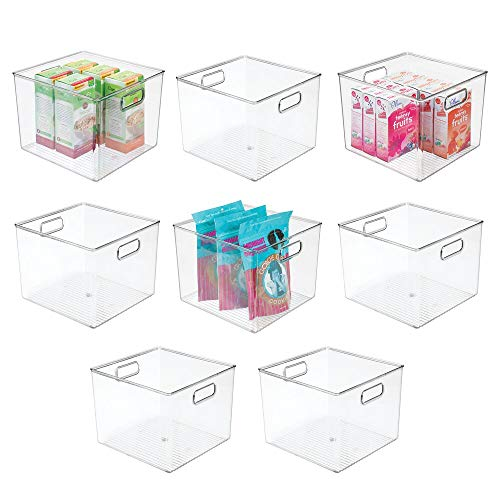 mDesign Plastic Food Storage Container Bin with Handles - for Kitchen, Pantry, Cabinet, Fridge/Freezer - Large Organizer for Snacks, Produce, Vegetables, Pasta - BPA Free, 10