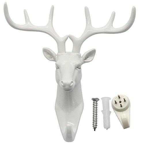 bouti1583 Single Deer Head Antlers Wall Hanger Coat Hat Hook Animal Shaped Decorative Gift White by bouti1583