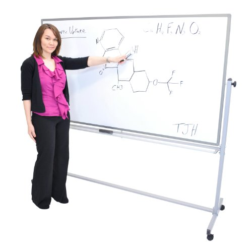 Luxor Double Sided 72 X 40 Mobile Reversible Dry erase Adjustable Magnetic Whiteboard