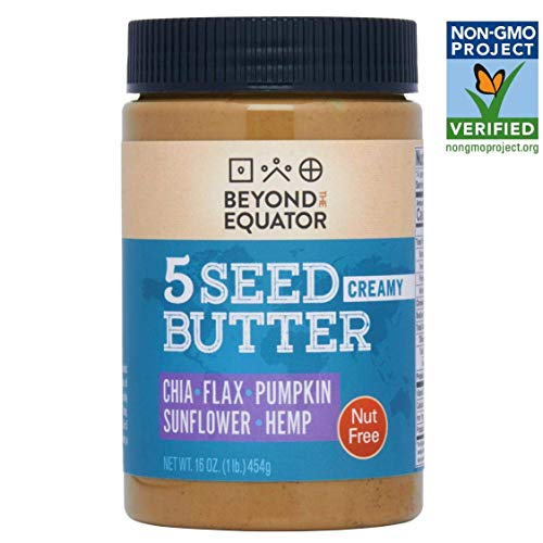 Beyond the Equator 5 Seed Butter - Nut Free, Non-GMO, Keto - Creamy 1 pack (Peanut Butter With Flax And Chia Seeds)
