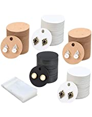 Ioffersuper 600Pcs Earring Display Cards Kit-300Pcs Round Cardboard Earring Holders 3 Colors Blank Kraft Paper Jewelry Hanging Tags 300Pcs Self-Seal Bags for Earring Ear Studs Selling Packaging