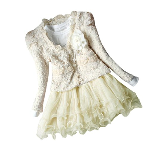 GOTD Baby Girl Kids Coat and Splice Long Sleeve Tutu Dress 2pc Clothes (2 Tall, Beige) by Goodtrade8 (Image #1)