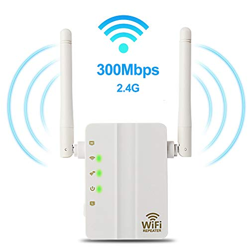WiFi Range Extender – 300Mbps WiFi Extender Repeater/Access Point/Router Dual Band 2.4GHz Wireless Signal Booster & Gigabit Ethernet Port WiFi Range Amplifier 2 External Antennas Internet Extender