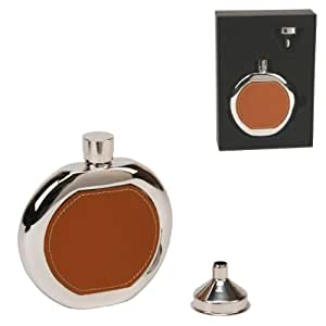Stainless Steel Silver Colour & Brown Leather Inset 4oz Hip Flask Gift Set