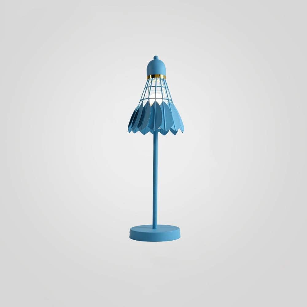 Creative Macaron Metal Iron Badminton Bedside Desk Lamp Nordic Modern Simple E27 Study Reading Table Light Hotel Living Room Cafe Office Decorative Desktop Light (Color : Blue)