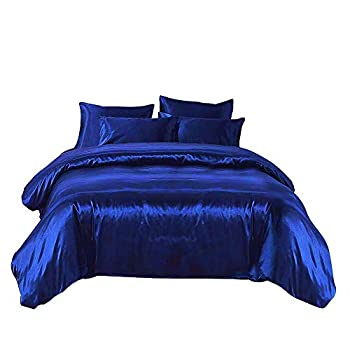 Image of Ultra Soft Luxurious Silk Like Satin 5-Piece Comforter Set ( Comforter + Flat Sheet + Fitted Sheet + 2 Pillow Cases ), Hypoallergenic Durable Comfort Bedding Set, Royal Blue, Twin XL Home and Kitchen
