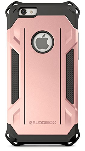 Fall Rose (iPhone 6s Case, BUDDIBOX [Corner Series] - Heavy Duty Protection From Falls - Also Compatible With Apple iPhone 6 - [Rose Gold])