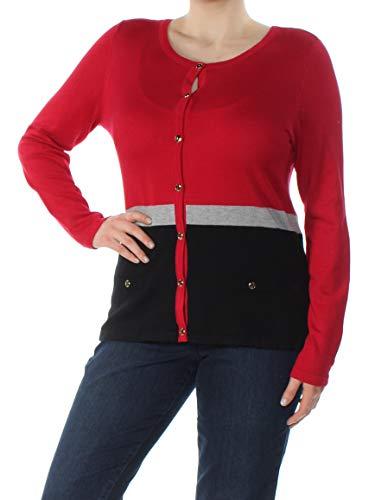 Karen Scott Colorblocked Cardigan (New Red Amore Combo, XL) from Karen Scott