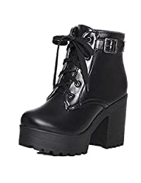 Women's Autumn Winter PU Leather Waterproof Platform Combat Ankle-High High-Heel Chunky Boots, Lace-up Martin Boots