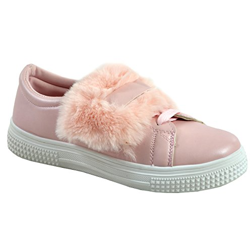 Cucu Fashion New Womens Ladies Faux Fur Lace Up Flat Heels Trainers plimsolls Sneakers Shoes Pink