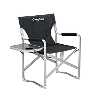 KingCamp Director Chair Full Back Folding Aluminum Padded Portable Heavy  Duty Comfort Sturdy With Armrest Side
