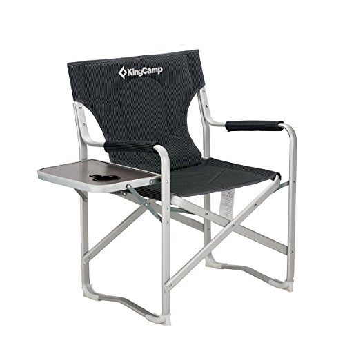 KingCamp Director Chair Full Back Folding Aluminum Padded Portable Heavy Duty Comfort Sturdy with Armrest Side Table and Cup Holder for Camping, Supports 300lbs by KingCamp