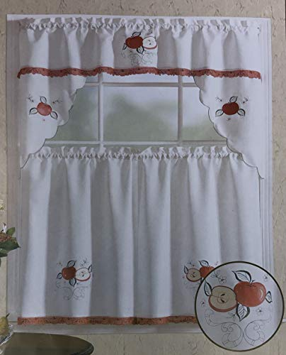 WPM WORLD PRODUCTS MART 3 Piece Kitchen Curtain Set: 2 Tiers and 1 Valance (ALKA0069 RED Apple)