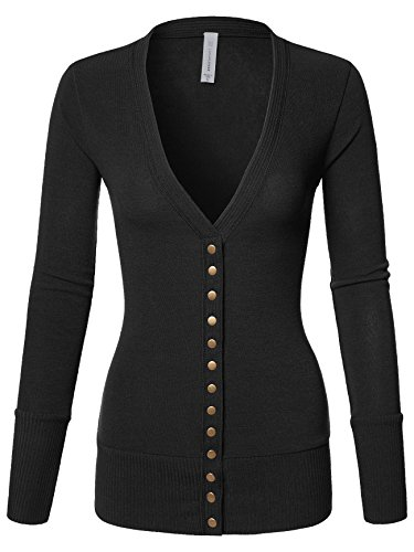 Luna Flower Women's V-Neck Snap Button Long Sleeve Soft Basic Knit Snap Cardigan Sweater Black X-Large (GCDW027) (Knit V-neck Sweater)