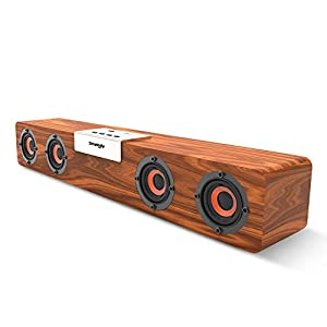 Docooler SMALODY Wooden Bluetooth Soundbar Bluetooth 5.0 Speaker Wireless Subwoofer 5W*4 Loudspeakers Supporting TF Card Expansion FM Mode