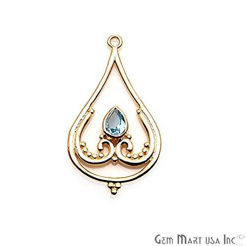 Hydro Blue Topaz Gemstone Pendant, Necklace Pendant, 40x22mm Gold Plated, Trillion Shape Pendant GemMartUSA ()