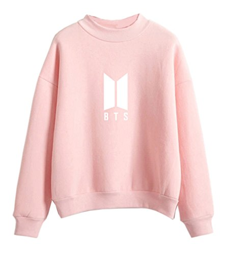HK Women's Kpop BTS Kawaii Pullover Korean Pink Candy Pastel Clothes Sweater for Teenage Girl ()