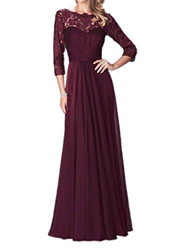 Kleider La Linie Spitze mia Brautmutterkleider Burgundy Braut Langarm mit Abendkleider Jugendweihe Lang A Pailletten pFPrgpwx