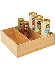 mDesign - Keukenorganizer - opbergbak - voor zakjes levensmiddelen, kruidenmixen en meer - bamboe/voedselveilig