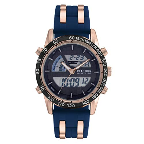 Kenneth Cole Reaction Mens Sport Round Blue Silicon Strap Watch