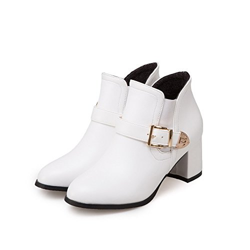 VogueZone009 Damen PU Mittler Absatz Spitz Zehe Rein Ziehen auf Stiefel Weiß