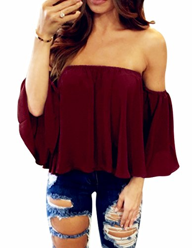 Miskely Women's Summer Off Shoulder Blouses Short Sleeves Sexy Tops Chiffon Ruffles Casual T Shirt (Medium, Wine Red)