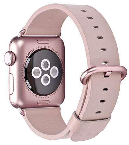 (JSGJMY Compatible with Iwatch Band Women Genuine Leather Replacement Strap Compatible with Series 4 3 2 1 Sport Edition(38mm 40mm S/M,Soft Pink+Rose Gold Clasp))