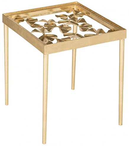Safavieh Home Collection Otto Antique Gold Ginkgo Leaf Side Table