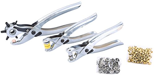 FLK Tech 3pcs Punch Hole Tool, Heavy Duty Revolving Punch Plier eyelet and Press Stud Pliers Set Metal Tool for Leather Belt, Saddle, Watch Strap, Shoe, Fabric, Paper, ()