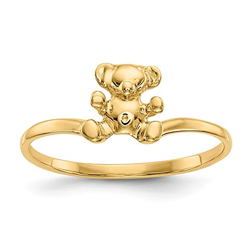 Bear Teddy 14k Ring (14k Yellow Gold Solid Not engraveable for boys or girls Polished Teddy Bear Ring - Size 3)