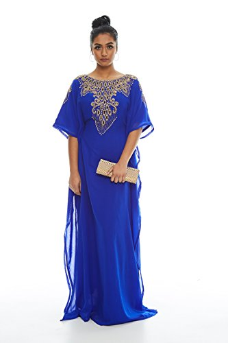 Covered Bliss Aceil Kaftan for Women 3/4 Sleeve Maxi Dress (Royal - Couture Dresses Wedding Allure