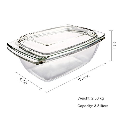 Glass Bakeware, Glencreag 3.8 Liters Oblong Clear Tempered Glass Casserole Baking Dish with Lid, Heat-resistant and Unbreakable Covered Glass Casserole