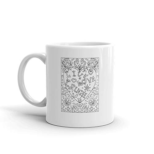 Decorative Coloring Page With Heart Shaped Frame Live Love Laugh Black And White Funny Mug 11 Oz Ceramic ()