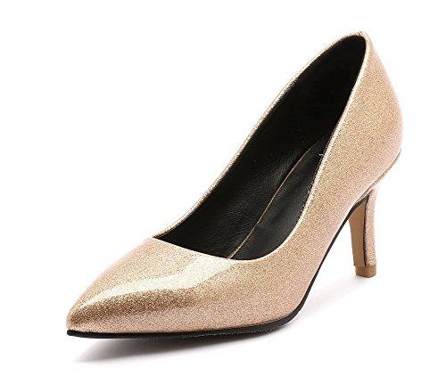 Damen Blend Ziehen auf Spitz Zehe Hoher Absatz Rein Pumps Schuhe, Rot, 32 AllhqFashion