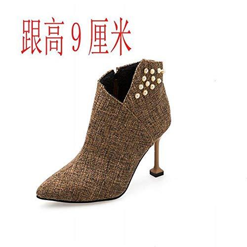 HOESCZS Stiefel Damen Woherren Mode Mode Mode Herbst Und Winter Martin Stiefel Frauen High Heel Stiletto Stiefel Farbe Passende Wilde Stiefeletten de8004