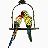 LUOLAN Vintage Tiffany Glass Chandelier Iron Pendant Light Birds Accent Lamp for Bedroom Hallway