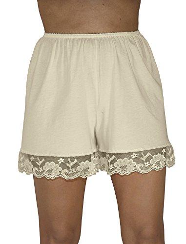 (Underworks Pettipants Cotton Knit Culotte Slip Bloomers Split Skirt 4-inch Inseam 2-Pack Medium-Beige)