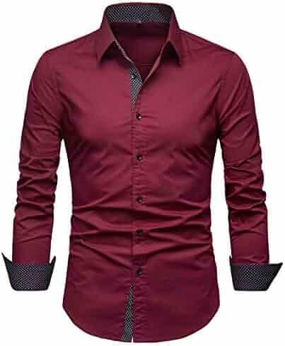 805d683c SIR7 Men's Cotton Button Down Casual Long Sleeve Shirts Inner Contrast  Plaid Dress Slim Fit Shirt
