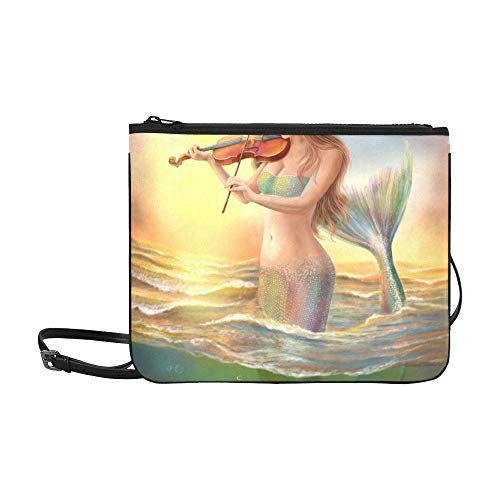 Beautiful Woman Fantasy Mermaid Plays On Violin On Pattern Custom High-grade Nylon Slim Clutch Bag Cross-body Bag Shoulder Bag ()