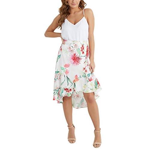 5733ddee0 Delicado Lipsy Mujer Falda Veraniega Asimétrica Estampado De Flores ...