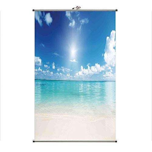 (iPrint Wall Hanging Picture Wall Scroll Poster Fabric Painting,Golden Sand Tropical Beach Clouds Sun Hot Heaven,3D Print Design Personality Customization Make Your Room unique23.6 X43.3)
