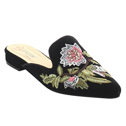DBDK AG88 Women's Chic Backless Slip On Embroidery Mule Flats, Color:BLACK,