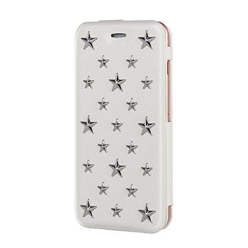 相手ぬいぐるみ拳【Alio】iPhone6/6Sケース  手帳型ケース 星型スタッズ  スタンド機能  高級レザー  ホワイト
