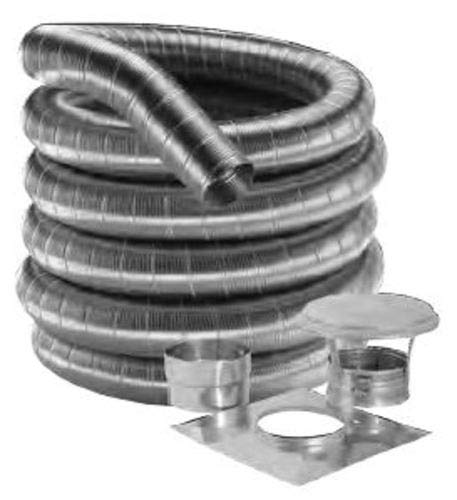 304 Alloy Relining Pipe - M & G Duravent 4FF304-15K 4 Inch x 15 ft. kit of 304-Alloy DuraFlex Light Liner