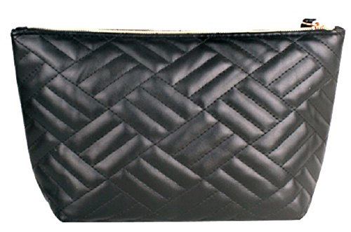 [Musenai] Big Cosmetic Travel Pouch Bag with Strap and Zipper (Black) -