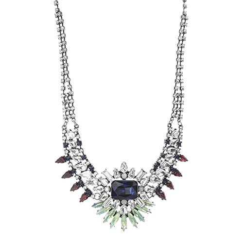 Steve Madden Women's Blue/Green Multi Jewel Design Statement Silver-Tone Necklace - Michele Green Necklace